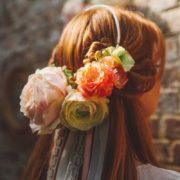 accessoire de tête bucolique mariage de printemps pêche orange Mademoiselle Margot