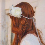 couronne fleur blanche ceremonie ruban dentelle mariée légèreté