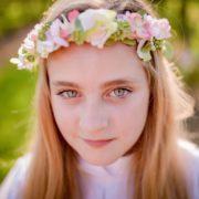 : accessoire de tète mariage élégant Couronne de fleurs rose poudré